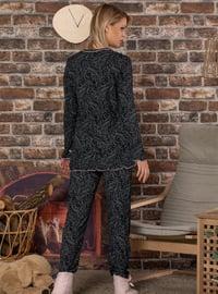 Black - V neck Collar -  - Pyjama Set