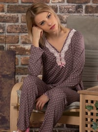 Multi - V neck Collar - Multi -  - Pyjama Set
