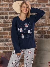 Navy Blue - Crew neck -  - Pyjama Set