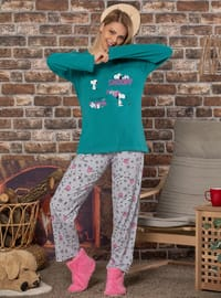 Green - Crew neck -  - Pyjama Set