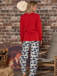 Red - Crew neck - Multi -  - Pyjama Set