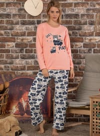 Pink - Powder - Crew neck - Multi -  - Pyjama Set