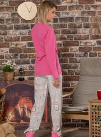 Fuchsia - Crew neck -  - Pyjama Set
