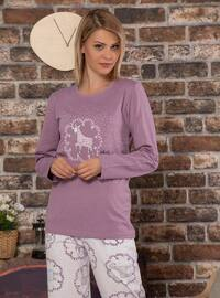 Purple - Crew neck -  - Pyjama Set