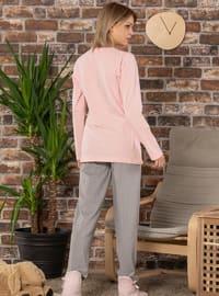 Pink - Crew neck -  - Pyjama Set