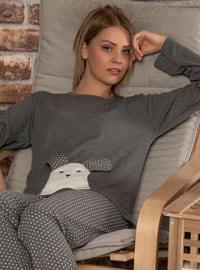 Anthracite - Crew neck - Polka Dot -  - Pyjama Set
