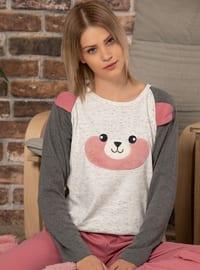 Ecru - Crew neck -  - Pyjama Set