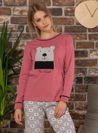Dusty Rose - Crew neck - Multi -  - Pyjama Set