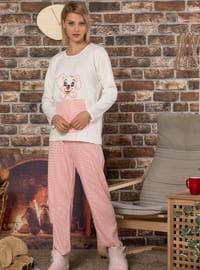 Ecru - Crew neck - Multi -  - Pyjama Set