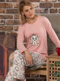 Salmon - Crew neck - Multi -  - Pyjama Set