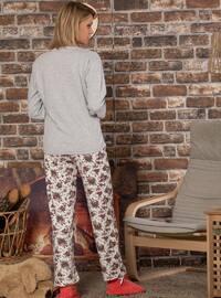 Gray - Crew neck - Multi -  - Pyjama Set