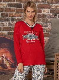 Red - V neck Collar - Multi -  - Pyjama Set