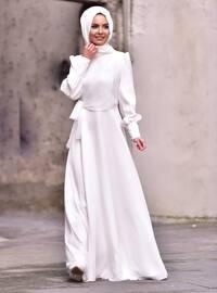 Ecru - Ecru - Fully Lined - Crew neck - White - Ecru - Fully Lined - Crew neck - Viscose - White - Ecru - Fully Lined - Crew neck - Viscose - Modest Evening Dress