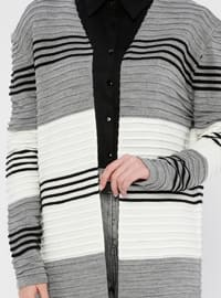 Gray - V neck Collar - Acrylic -  - Cardigan