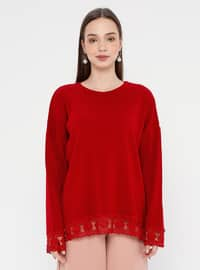 Red - Crew neck - Acrylic -  - Jumper