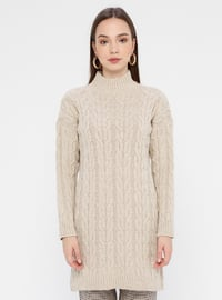 Beige - Polo neck - Acrylic -  - Tunic