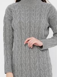 Gray - Polo neck - Acrylic -  - Tunic