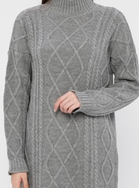 Gray - Polo neck - Acrylic -  - Tunic