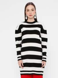 Black - Crew neck - Acrylic -  - Tunic