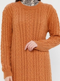 Tan - Crew neck - Acrylic -  - Tunic