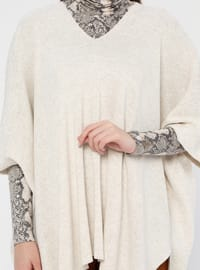 Beige - V neck Collar - Acrylic -  - Tunic