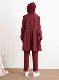 Bordo - Astarsız kumaş - - Kostüm