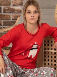 Red - Crew neck -  - Pyjama Set