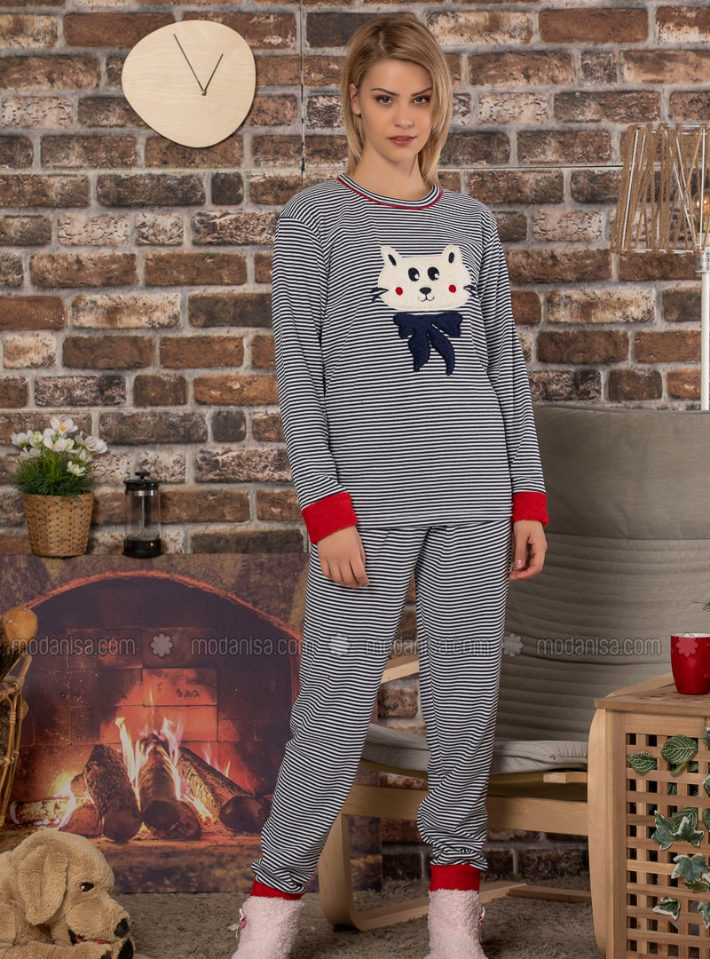 Navy Blue - Crew neck - Stripe -  - Pyjama Set