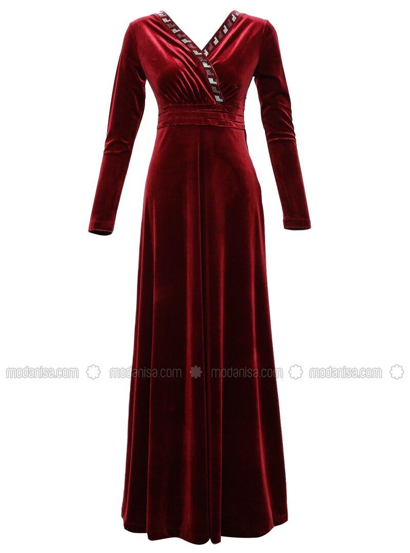 Bordeauxrot - Bordeauxrot - V-Ausschnitt - Ohne Innenfutter - - Hijab Kleid