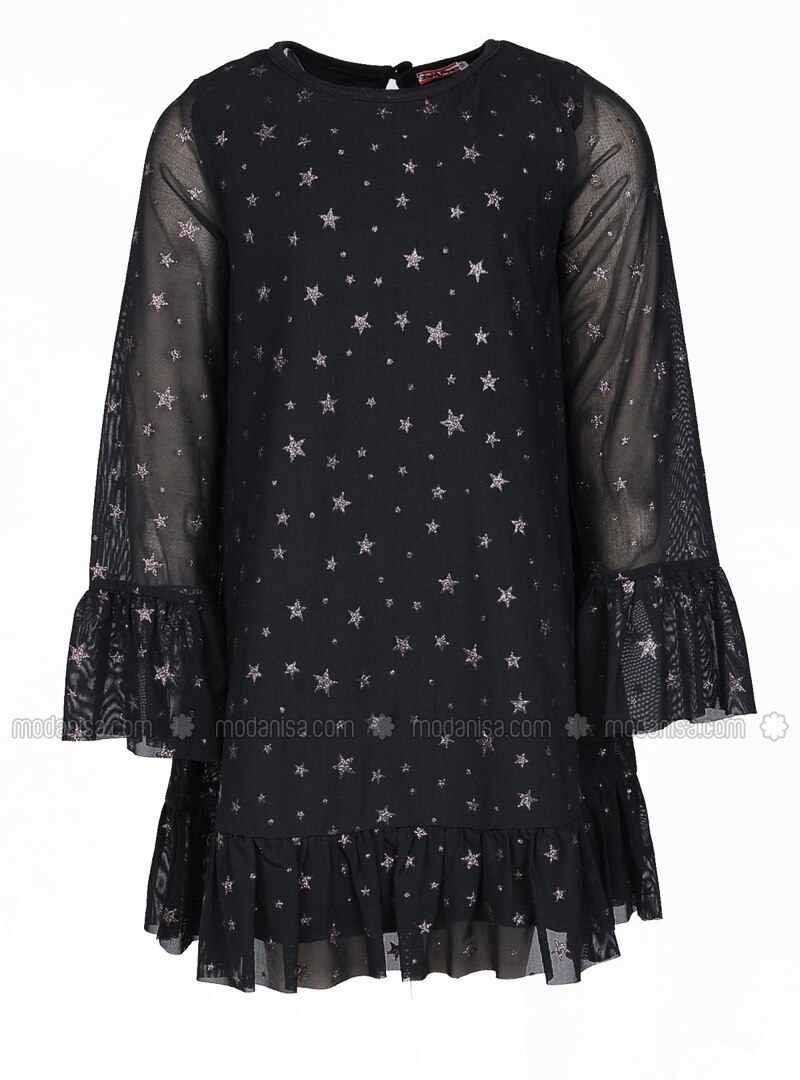 Multi - Crew neck - Black - Girls` Dress