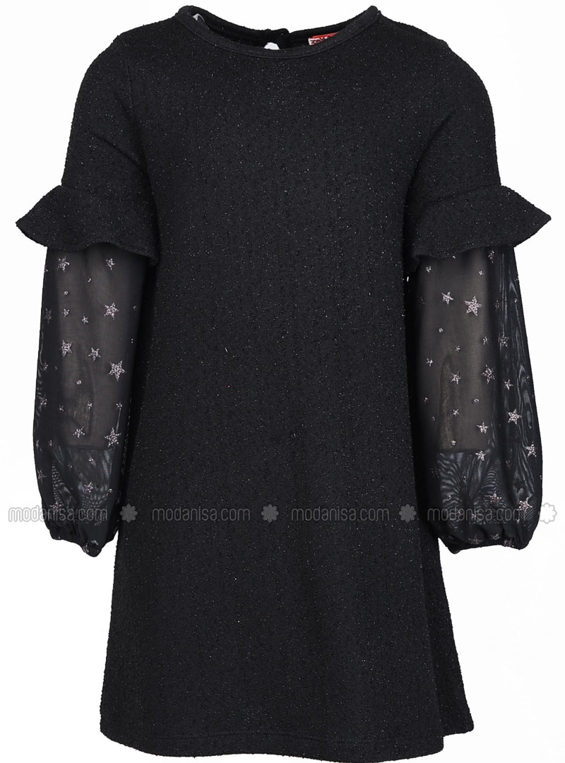 Crew neck - Viscose - Black - Girls` Dress