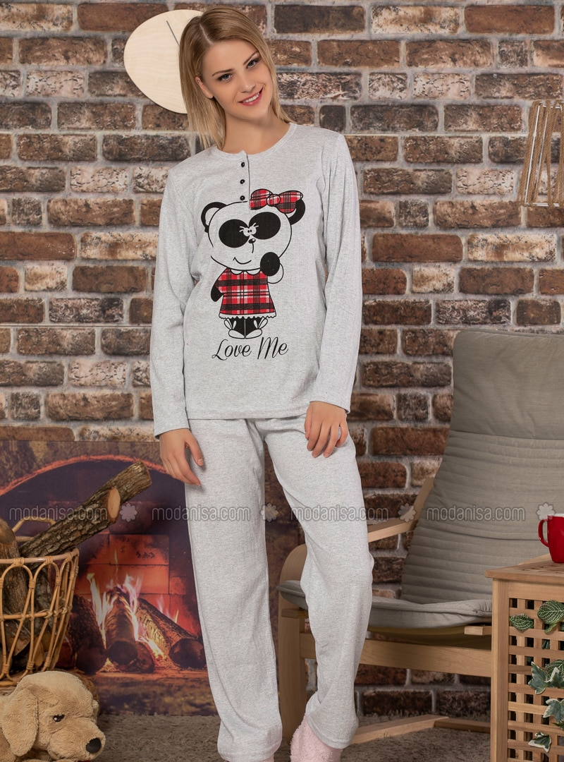 Gray - Crew neck - Multi -  - Pyjama Set