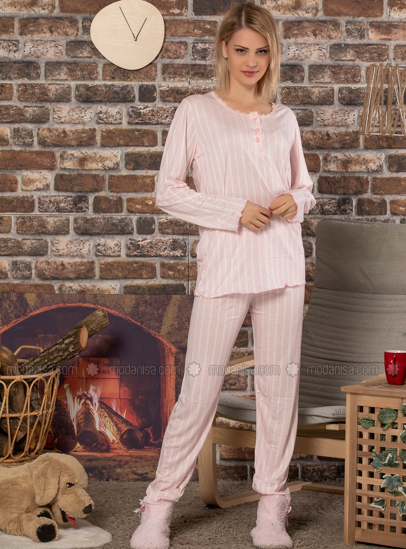 Pink - Crew neck - Multi -  - Pyjama Set