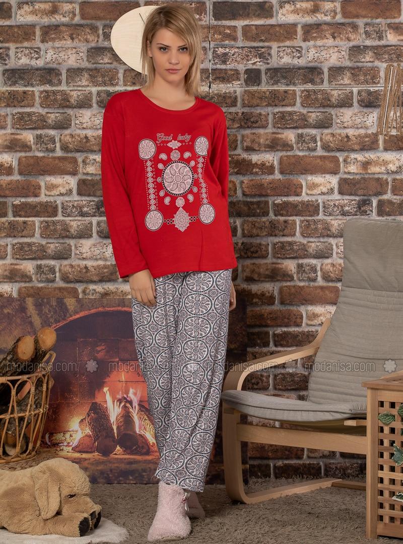 Red - Crew neck - Multi -  - Pyjama Set
