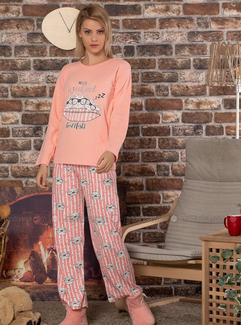Pink - Powder - Crew neck - Multi -  - Pyjama Set