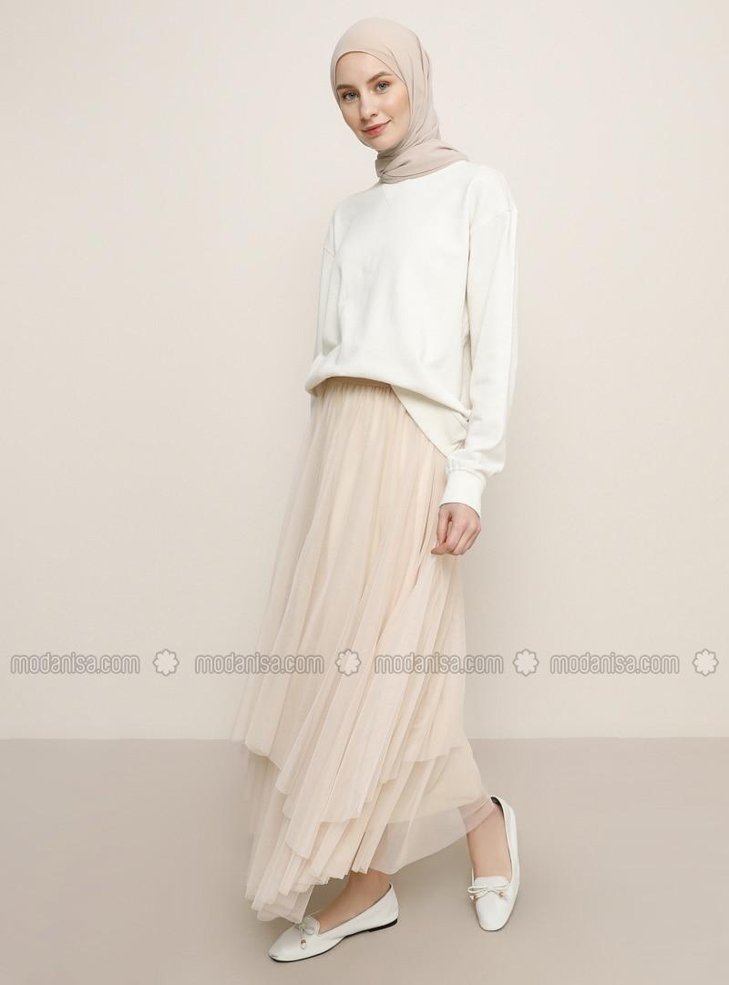 White - Ecru - Powder - Fully Lined - Skirt