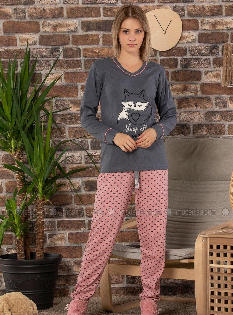 Anthracite - Crew neck -  - Pyjama Set