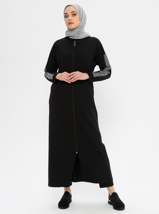 Gray - Black - Unlined - Crew neck -  - Abaya - Ginezza