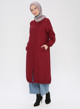 Maroon - Unlined - Crew neck - Topcoat