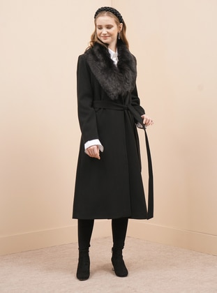Black - Fully Lined - V neck Collar - Viscose - Coat