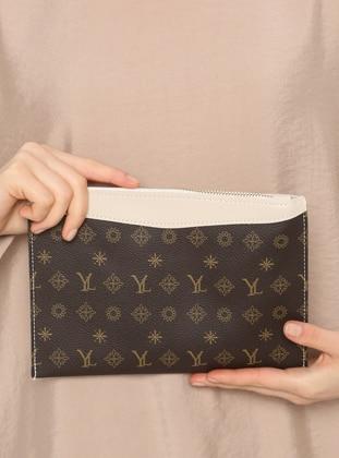 Brown - Cream - Clutch Bags / Handbags