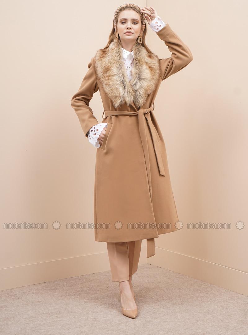 Camel - Fully Lined - V neck Collar - Viscose - Coat