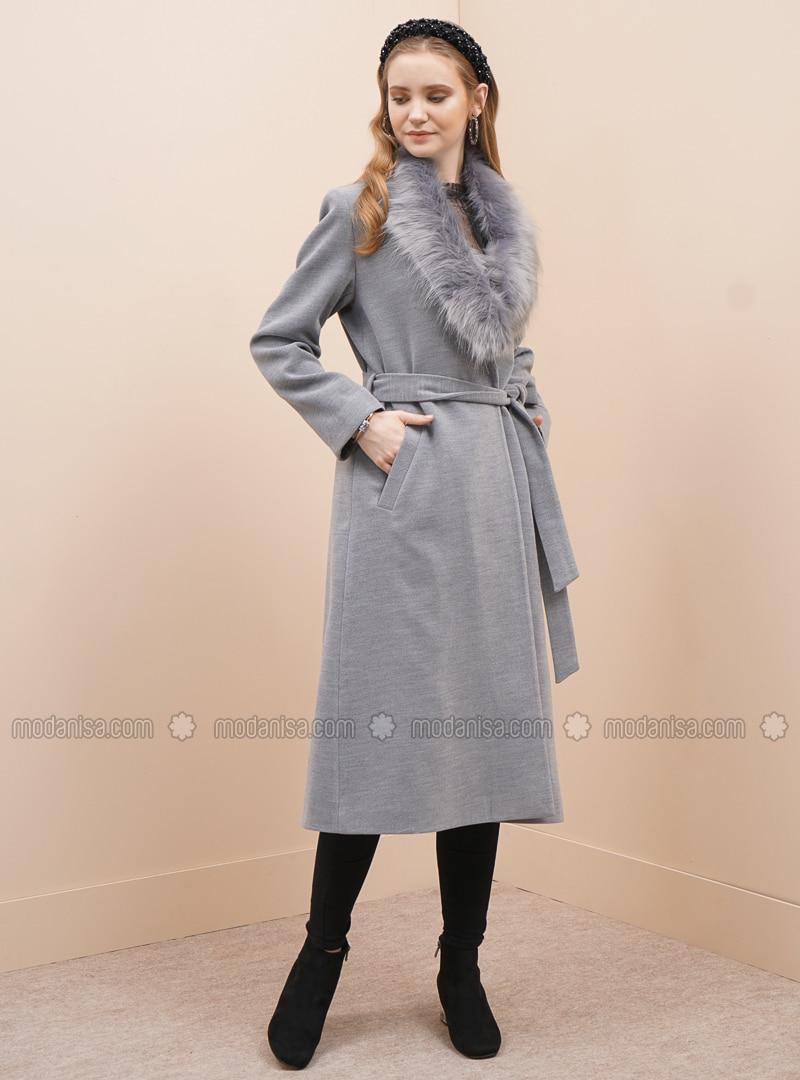 Gray - Fully Lined - V neck Collar - Viscose - Coat