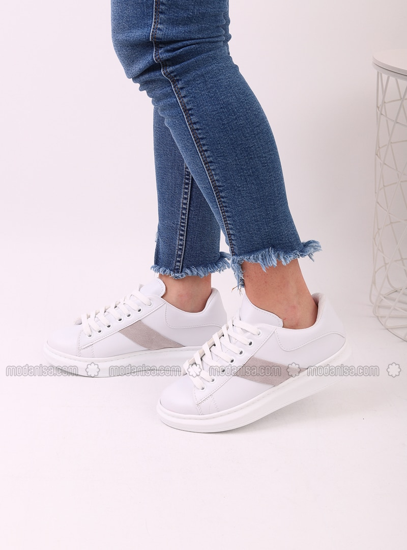White - Gray - Sport - Sports Shoes