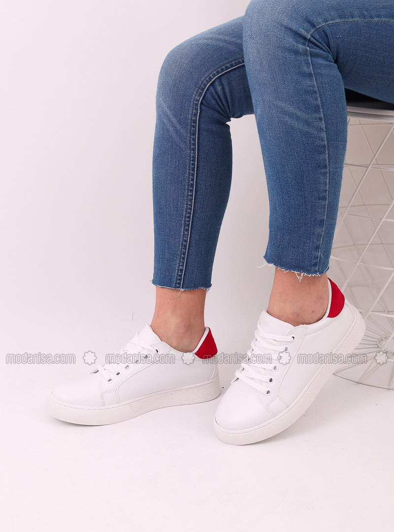 White - Red - Sport - Sports Shoes