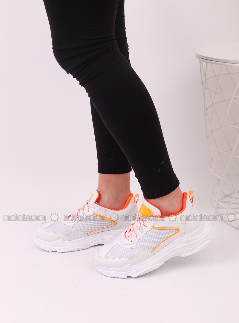 White - Orange - Sport - Sports Shoes