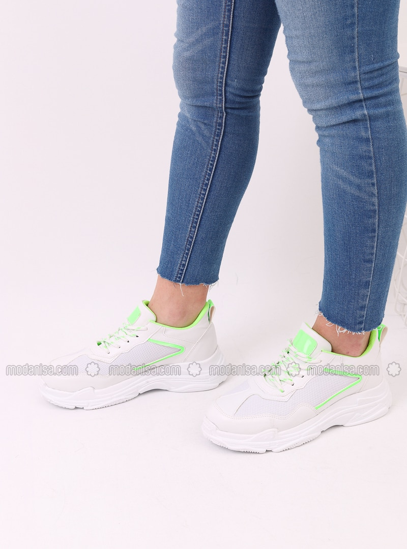 White - Green - Sport - Sports Shoes
