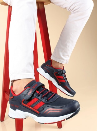 Red - Navy Blue - Casual - Boys` Shoes - Fast Step