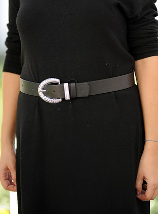 Silver tone - Black - Belt