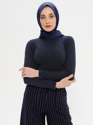 Navy Blue - Polo neck -  -  - Blouses